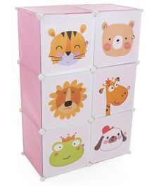 6 Compartment Storage Rack Animal Face Print -  Pink