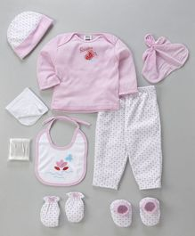 Mee Mee Clothing Gift Set Butterfly And Small Flower Pack of 9 - Pink & White