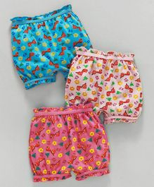 Red Rose Bloomers Dino Print Pack of 3 - Blue Peach Pink