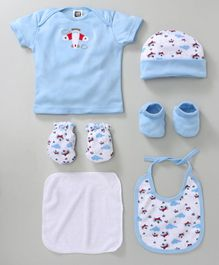 Mee Mee Infant Clothing Gift Set Aeroplane Print Pack of 6 - Blue & White