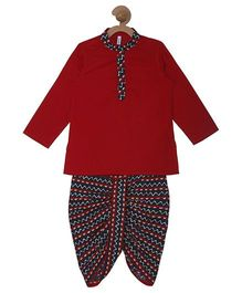 Campana Kurta & Printed Dhoti Set - Red & Navy Blue