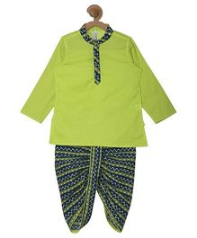 Campana Kurta & Printed Dhoti Set - Green & Navy Blue