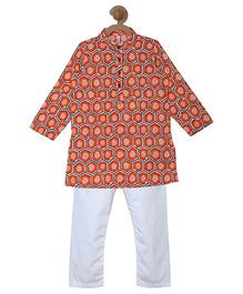 Campana Printed Kurta & Pyjama Set - Orange & White