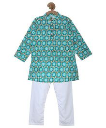Campana Printed Kurta & Pyjama Set - Blue & White