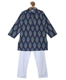 Campana Printed Kurta & Pyjama Set - Navy Blue & White