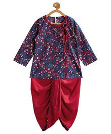 Campana Angrakha Dhoti Set - Navy Blue & Red