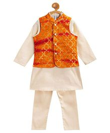 Campana Kurta With Jacket & Pyjama Set - Orange & Beige