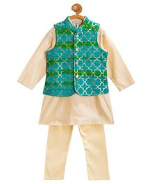 Campana Kurta With Jacket & Pyjama Set - Beige & Green