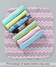 Babyhug Wash Clothes Plain & Printed Multi Colour - Pack of 8