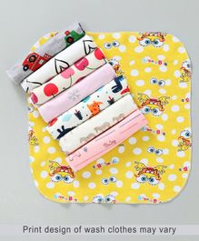 Babyhug Wash Clothes Printed Multi Colour - Pack of 8