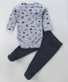 Fox Baby Full Sleeves Onesie And Footed Lounge Pant Multiprint - Grey Navy Blue