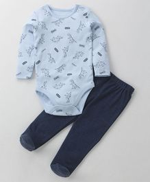 Fox Baby Full Length Onesie With Footed Lounge Pant Dino Print - Blue