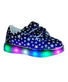 Passion Petals LED Printed Party Wear Shoes - Black