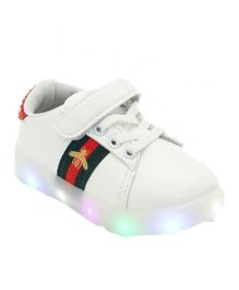 Passion Petals Red Band LED Casual Shoes - White