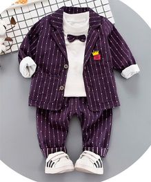 Pre Order - Awabox Stripes Tee & Bottom Set With Jacket - Purple