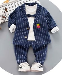 Pre Order - Awabox Stripes Tee & Bottom Set With Jacket - Deep Blue