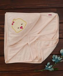 Babyhug Towel With Hood Duck Embroidery - Peach