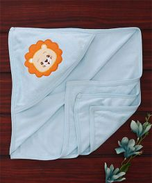 Babyhug Towel With Hood Lion Embroidery - Light Blue