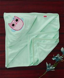 Babyhug Towel With Hood Owl Embroidery - Light Green