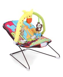 Baby Musical Bouncer Animal Design - Red & Multicolour