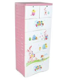 7 Compartments Storage Cupboard Bunny Print - Pink