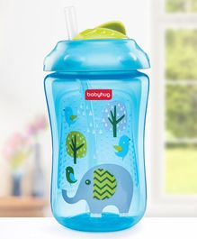 Babyhug Swipey Straw Sipper Elephant Print Blue - 300 ml