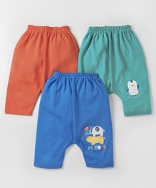 Zero Full Length Diaper Leggings Animals Print Pack of 3 - Blue Green Orange