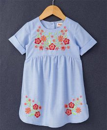Hugsntugs Chambray Dress With Floral Embroidery - Blue