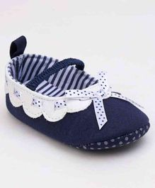 Cute Walk by Babyhug Booties Ribbon Bow - Navy Blue