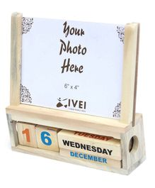 IVEI Wooden Desk Calendar With Photo Frame - Brown
