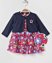 Olio Kids Cap Sleeves Layered Frock With Shrug Floral Print - Navy Blue Pink