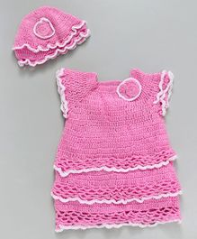Richhandknits Short Sleeves Layered Woollen Dress With Cap - Pink