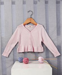 Fox Baby Full Sleeves Front Open Cardigan - Light Pink