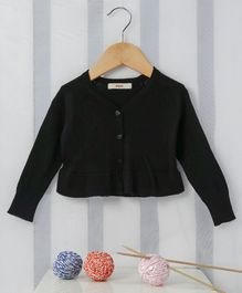 Fox Baby Full Sleeves Front Open Cardigan - Black