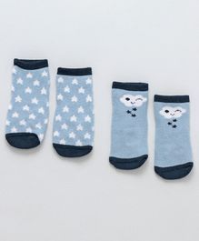 Fox Baby Ankle Length Anti Skid Socks Pack Of 2 - Blue