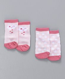Fox Baby Ankle Length Anti Skid Socks Pack Of 2 - Pink
