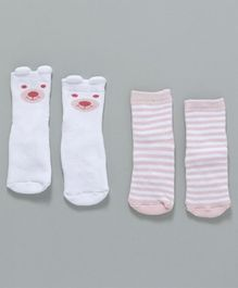Fox Baby Ankle Length Anti Skid Socks Pack Of 2 - White