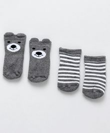 Fox Baby Ankle Length Anti Skid Socks Pack Of 2 - Grey