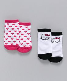Fox Baby Ankle Length Anti Skid Socks Pack Of 2 - Pink & White