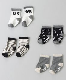Fox Baby Ankle Length Socks Stripe & Light Bolt Design Pack of 4 - Grey Black