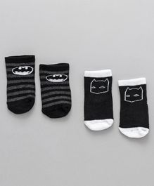 Fox Baby Ankle Length Anti Skid Socks Batman Design Pack Of 2 - Black