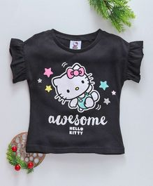 Fox Baby Flutter Sleeves Tee Awesome Hello Kitty Print - Black