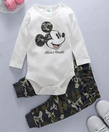 Fox Baby Full Sleeves Onesie With Leggings Micley Mouse Print - White & Black