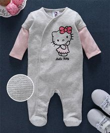 Fox Baby Full Sleeves Footed Romper Hello Kitty Print - Grey