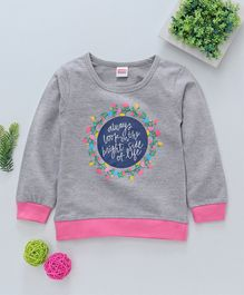 Babyhug Full Sleeves Sweatshirt Floral & Text Print - Grey