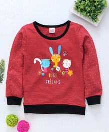 Babyhug Full Sleeves Sweatshirt Best Friends Print - Red