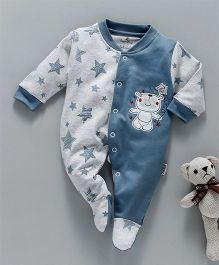 Child World Full Sleeves Footed Sleepsuit Bear Patch - Grey Blue
