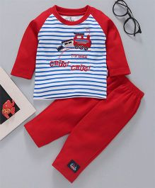 Child World Full Sleeves Tee & Lounge Pant Set - Red