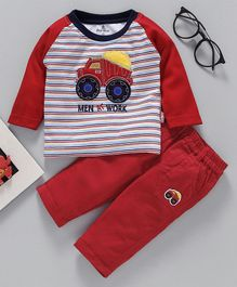 Child World Full Sleeves Tee & Lounge Pant - Red
