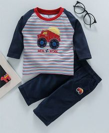 Child World Full Sleeves Stripe Tee & Lounge Pant Truck Patch - Navy Blue